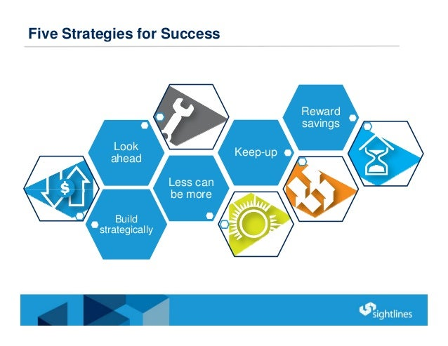 Five Strategies for Success Build strategically Less can be more Look ahead Keep-up Reward savings