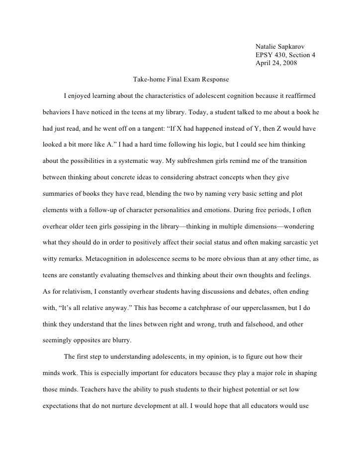 Essay on Adolescence
