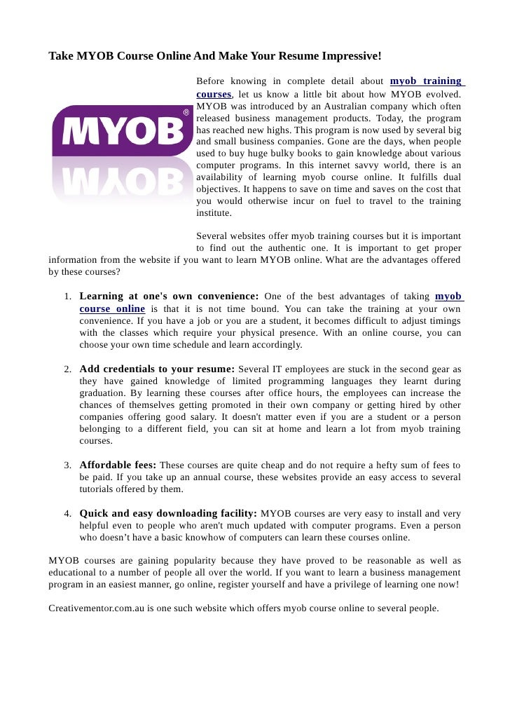 Take MYOB Course Online And Make Your Resume Impressive!