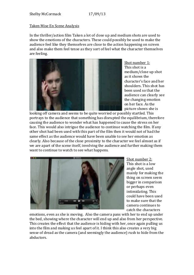 taken mise en scene analysis shelby mccormack 17 09 13 taken mise en scene analysis in the thriller