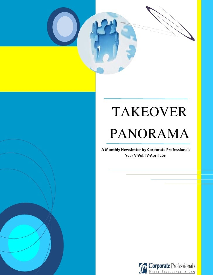 TAKEOVER    PANORAMAA Monthly Newsletter by Corporate Professionals            Year V-Vol. IV-April 2011