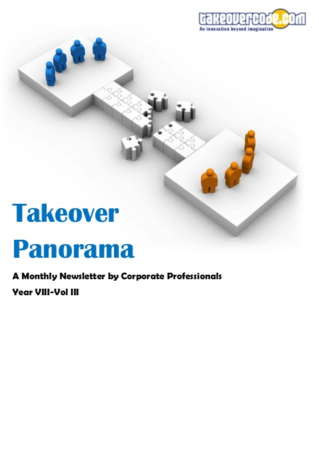 Takeover Panorama A Monthly Newsletter by Corporate Professionals Year VIII-Vol III