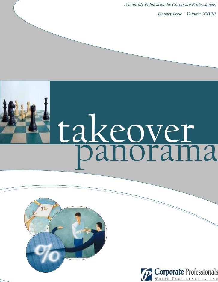 A monthly Publication by Corporate Professionals                         January Issue – Volume XXVIII     takeover  panor...