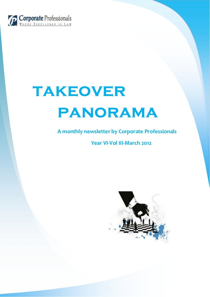 takeover  panorama A monthly newsletter by Corporate Professionals              Year VI-Vol III-March 2012
