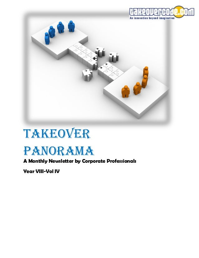 Takeover Panorama A Monthly Newsletter by Corporate Professionals Year VIII-Vol IV
