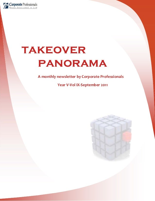 takeover panorama A monthly newsletter by Corporate Professionals Year V-Vol IX-September 2011