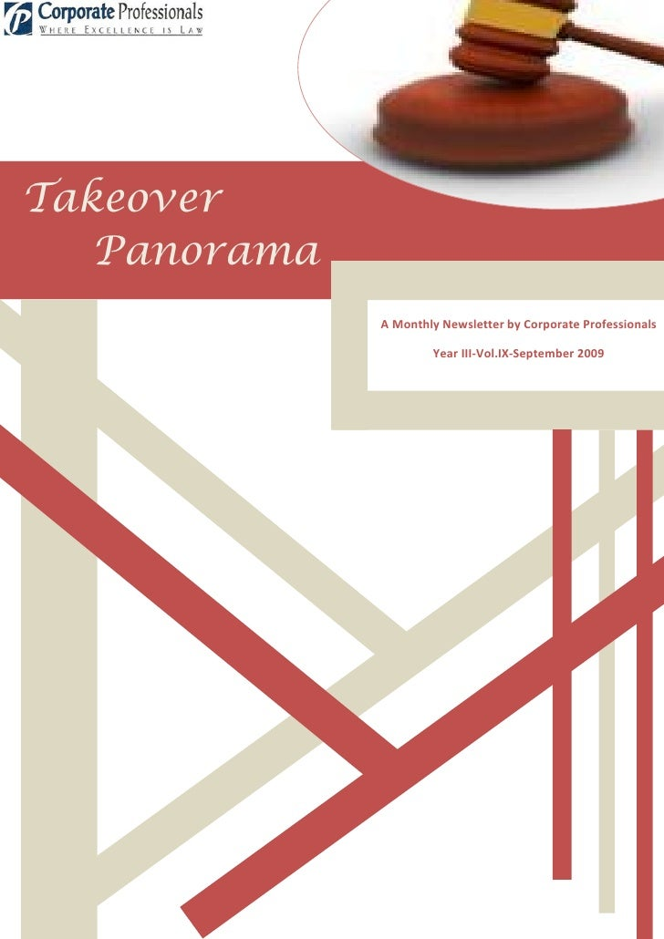 Takeover    Panorama               A Monthly Newsletter by Corporate Professionals                        Year III-Vol.IX-...