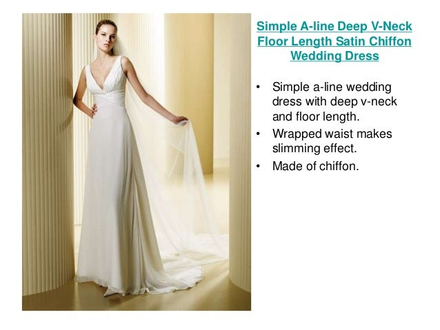 A Line Tulle Simple Wedding Dresses With Beading Off The: Take The Plunge With These Beautiful V-neck Wedding Dresses