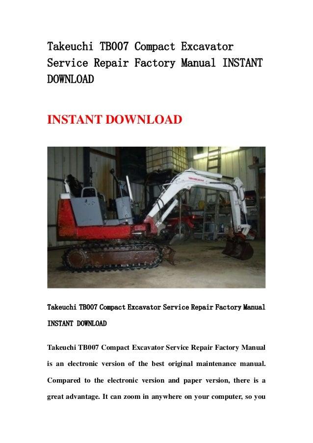 takeuchi tb015 compact excavator service repair factory manual instant download