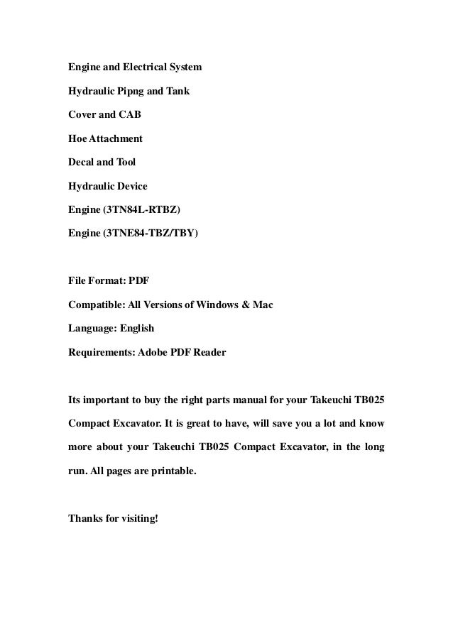 takeuchi tb025 parts manual