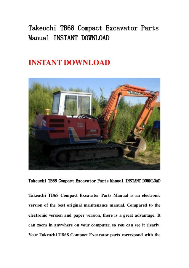 takeuchi tb68 compact excavator parts manual instant download. Black Bedroom Furniture Sets. Home Design Ideas