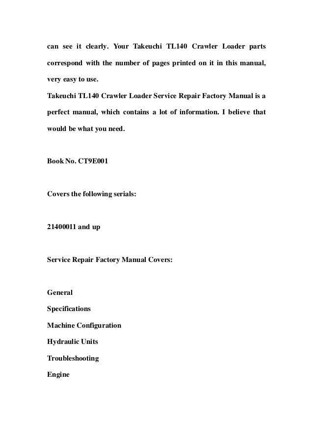 Takeuchi tl140 owners manual wiring library takeuchi tl140 crawler loader service repair factory manual instant d rh slideshare net takeuchi tl140 weight takeuchi tl140 weight cheapraybanclubmaster Gallery