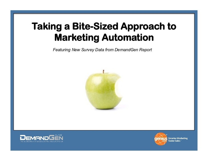 Taking a Bite-Sized Approach to     Marketing Automation    Featuring New Survey Data from DemandGen Report