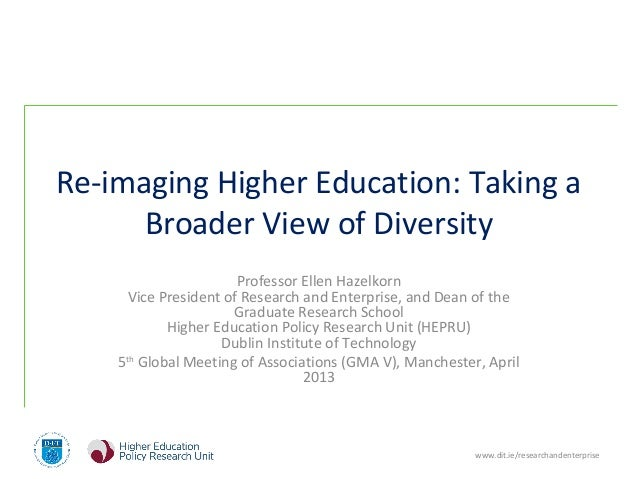 www.dit.ie/researchandenterpriseRe-imaging Higher Education: Taking aBroader View of DiversityProfessor Ellen HazelkornVic...