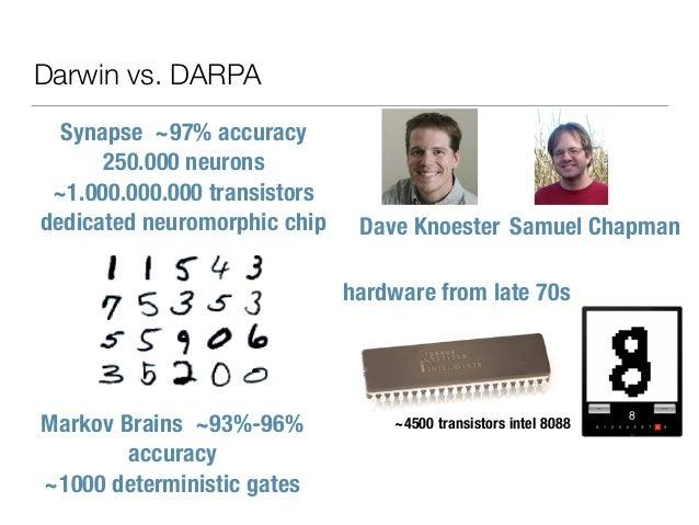 Darwin vs. DARPA Synapse ~97% accuracy 250.000 neurons ~1.000.000.000 transistors dedicated neuromorphic chip Markov Brain...