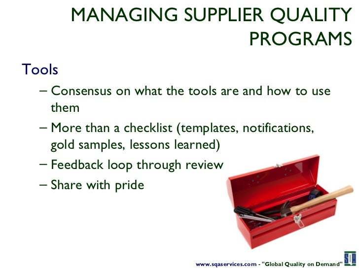 Taking control of supplier quality quality on demand 11 managing supplier pronofoot35fo Images