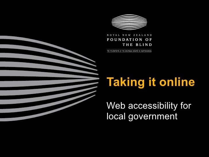 Taking it online Web accessibility for local government