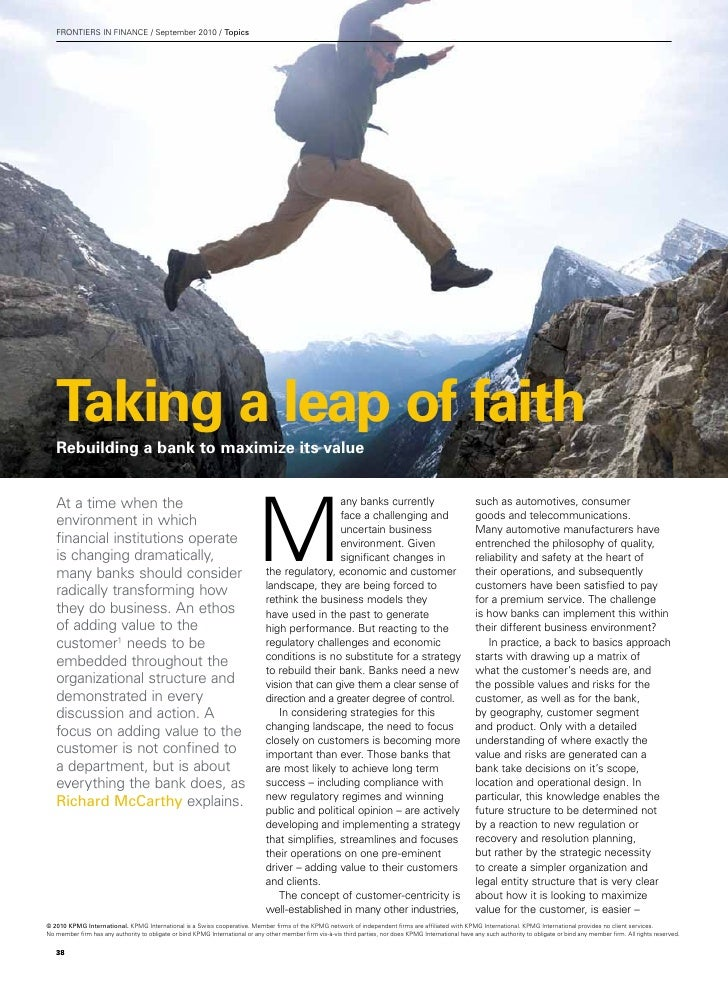 FRONTIERS IN FINANCE / September 2010 / Topics   Taking a leap of faith   Rebuilding a bank to maximize its value         ...