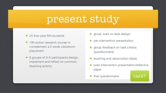 Classroom Action Research Design ~ Taking to tasks