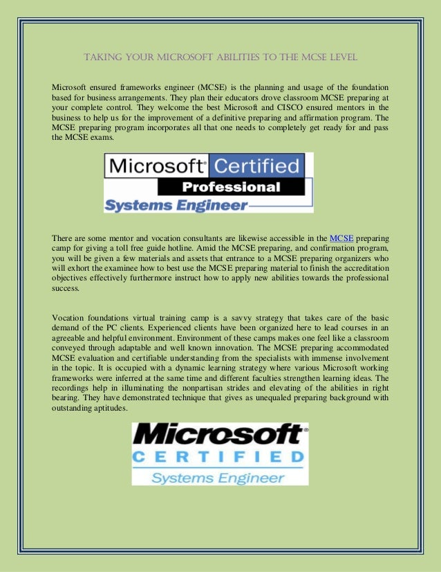 Taking Your Microsoft Abilities To The Mcse Level