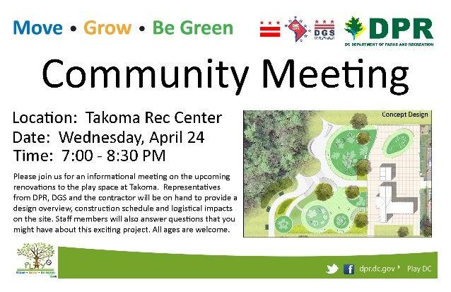 Takoma PlayDC Community Meeting Flyer