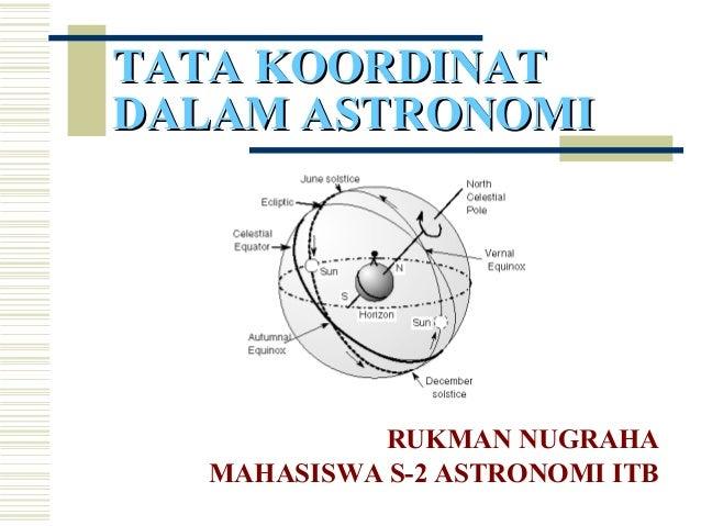 RUKMAN NUGRAHA MAHASISWA S-2 ASTRONOMI ITB TATA KOORDINATTATA KOORDINAT DALAM ASTRONOMIDALAM ASTRONOMI