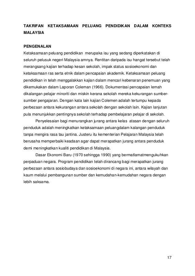 TAKRIFAN  KETAKSAMAAN  PELUANG  PENDIDIKAN  DALAM  KONTEKS  MALAYSIA  PENGENALAN Ketaksamaan peluang pendidikan merupaka i...