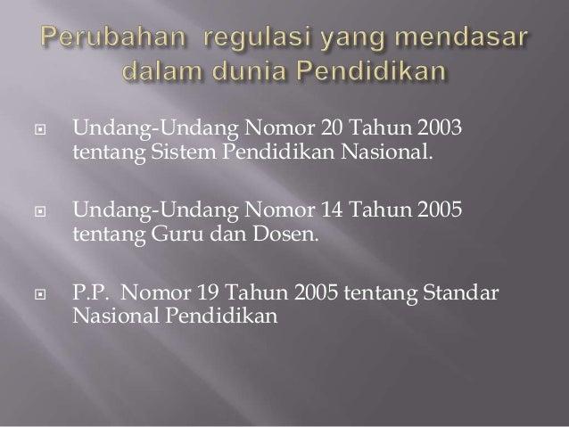  Undang-Undang Nomor 20 Tahun 2003tentang Sistem Pendidikan Nasional. Undang-Undang Nomor 14 Tahun 2005tentang Guru dan ...