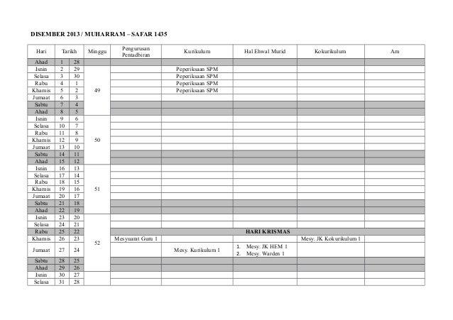 DISEMBER 2013 / MUHARRAM – SAFAR 1435 Hari  Tarikh  Ahad Isnin Selasa Rabu Khamis Jumaat Sabtu Ahad Isnin Selasa Rabu Kham...
