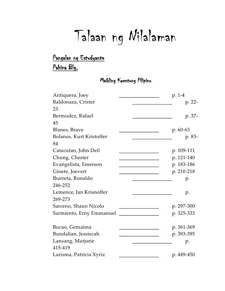 thesis sa filipino 2 talaan ng nilalaman