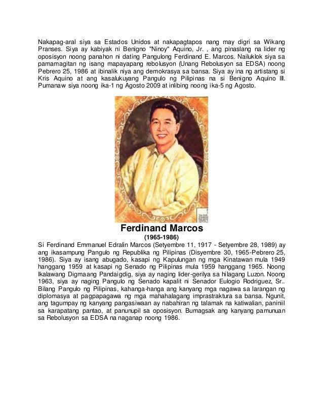 Talambuhay ng mga dating pangulo ng pilipinas