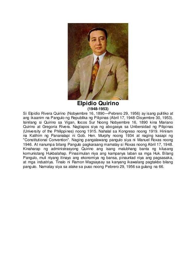 Talambuhay ni dating pangulong elpidio quirino