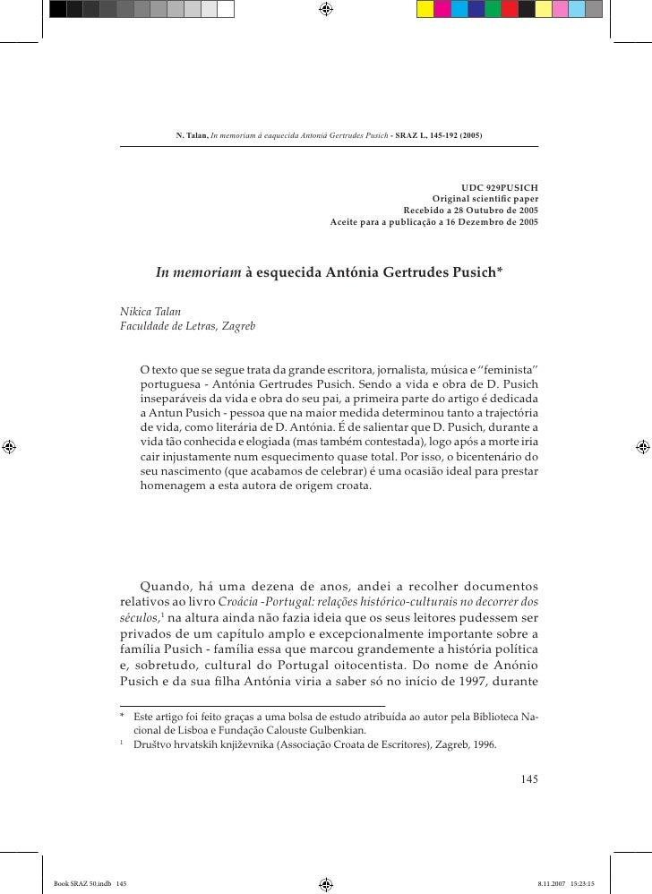 N. Talan, In memoriam à eaquecida Antonià Gertrudes Pusich - SRAZ L, 145-192 (2005)                                       ...