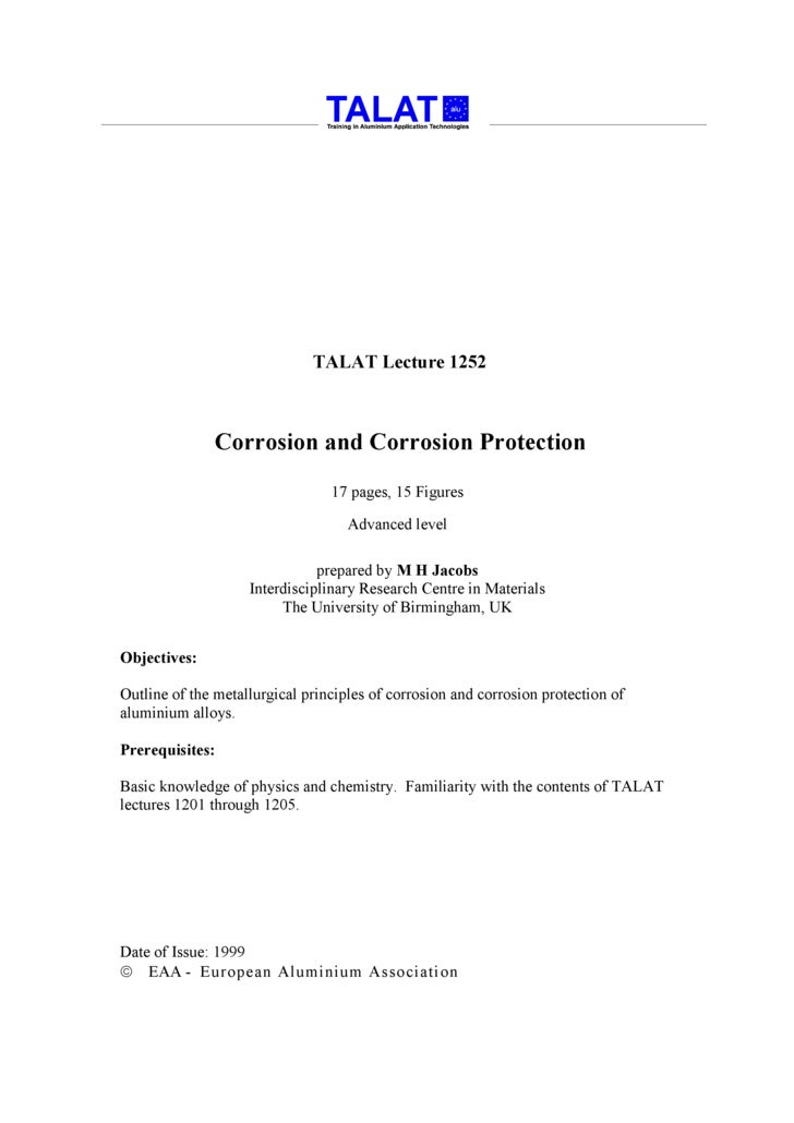 TALAT Lecture 1252                   Corrosion and Corrosion Protection                                  17 pages, 15 Figu...
