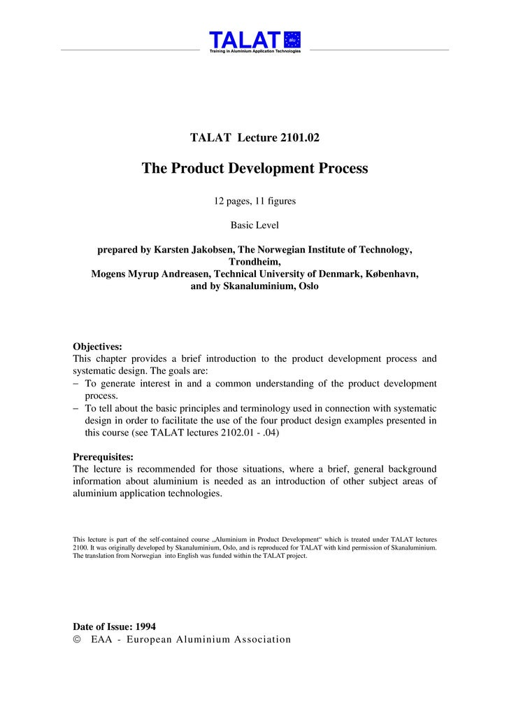 TALAT Lecture 2101.02                         The Product Development Process                                             ...