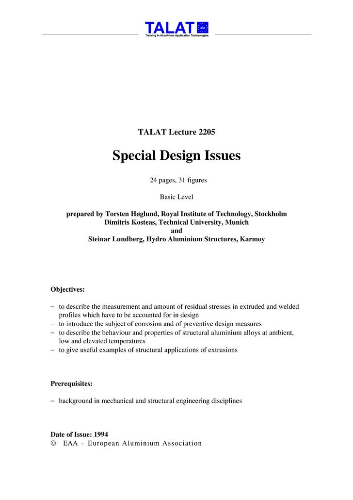 TALAT Lecture 2205                        Special Design Issues                                  24 pages, 31 figures     ...