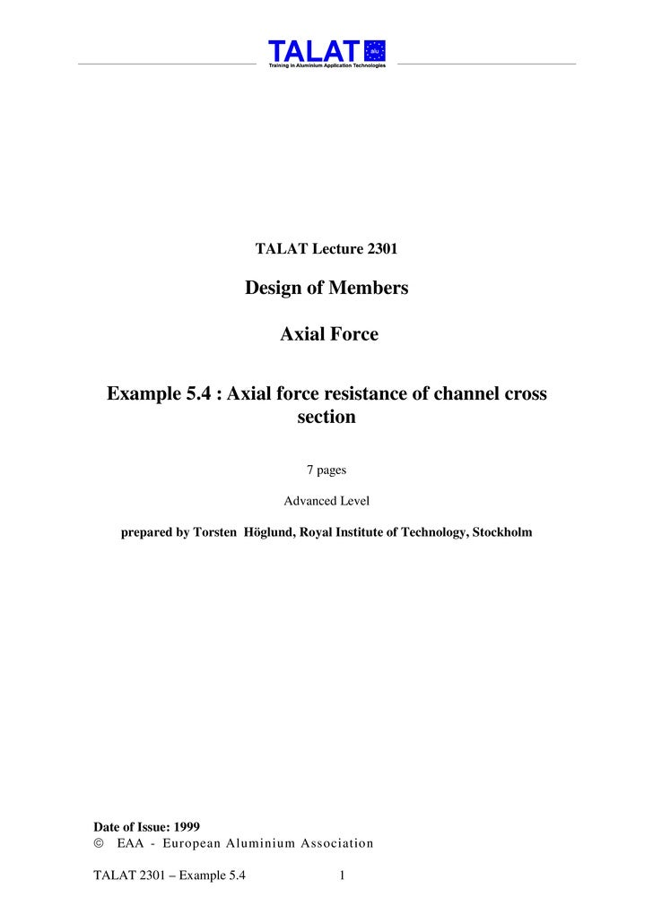 TALAT Lecture 2301                          Design of Members                                Axial Force     Example 5.4 :...