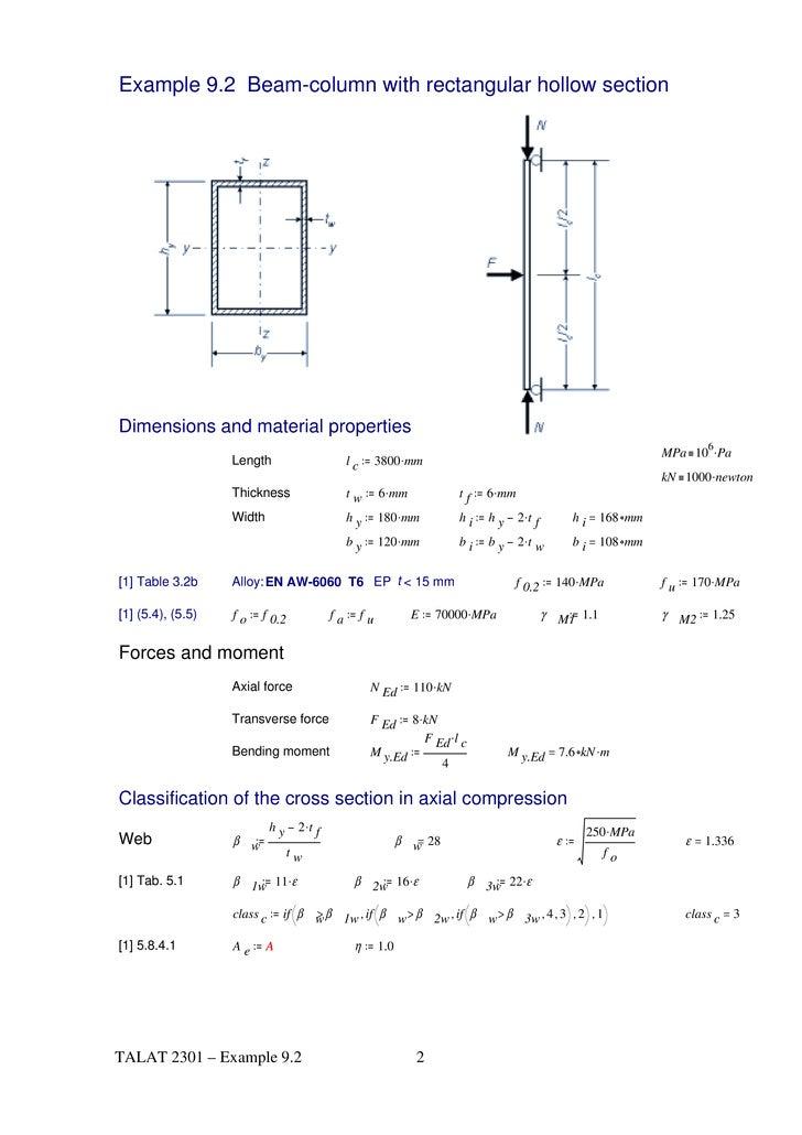 Rectangular beam dimensions