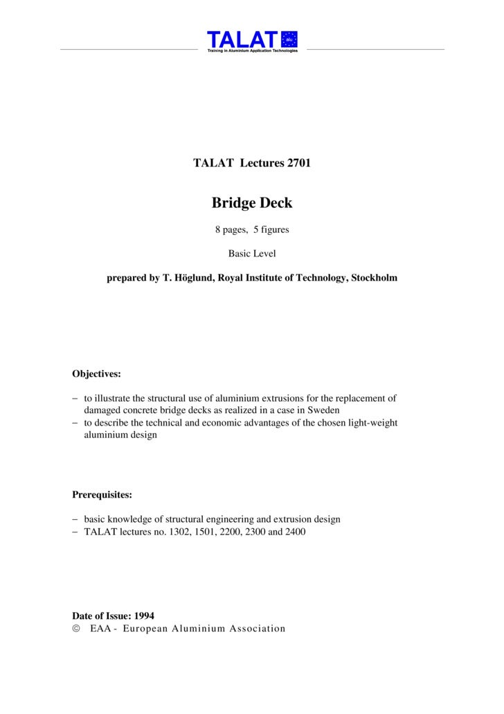 TALAT Lectures 2701                                     Bridge Deck                                    8 pages, 5 figures ...