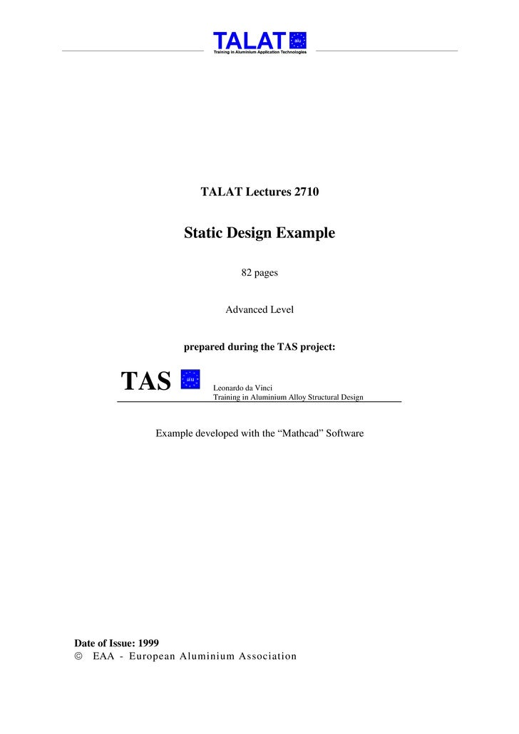 TALAT Lectures 2710                      Static Design Example                                   82 pages                 ...