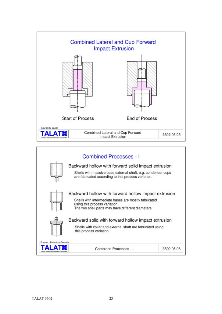 TALAT Lecture 3502: Impact Extrusion Processes