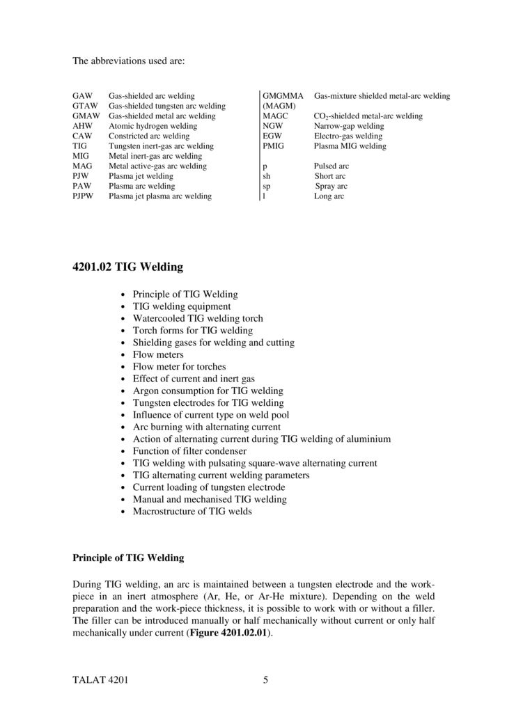 AWS - American Welding Society welding processes abbreviations