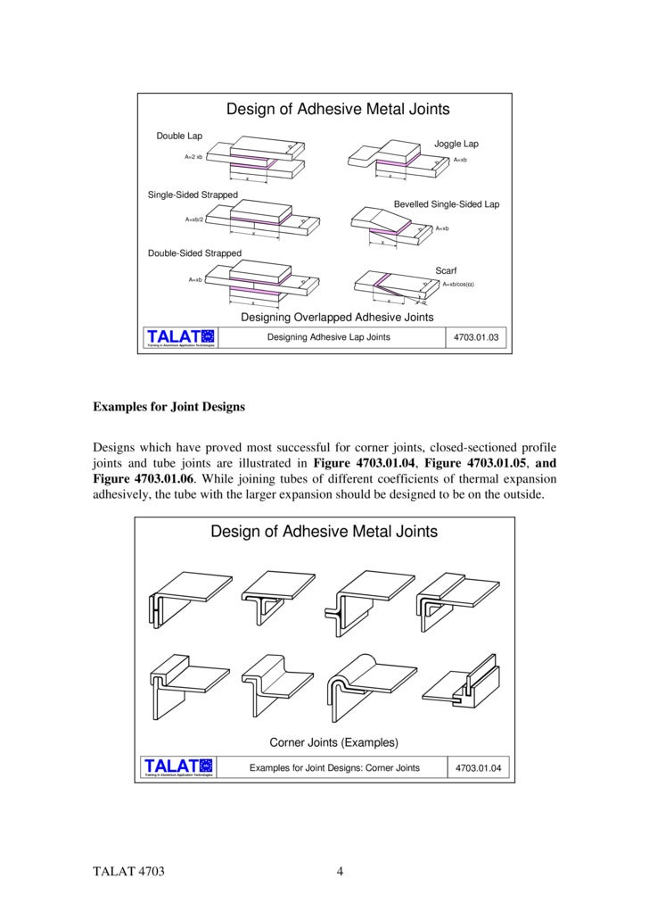 TALAT Lecture 4703: Design and Calculation of Adhesive Joints
