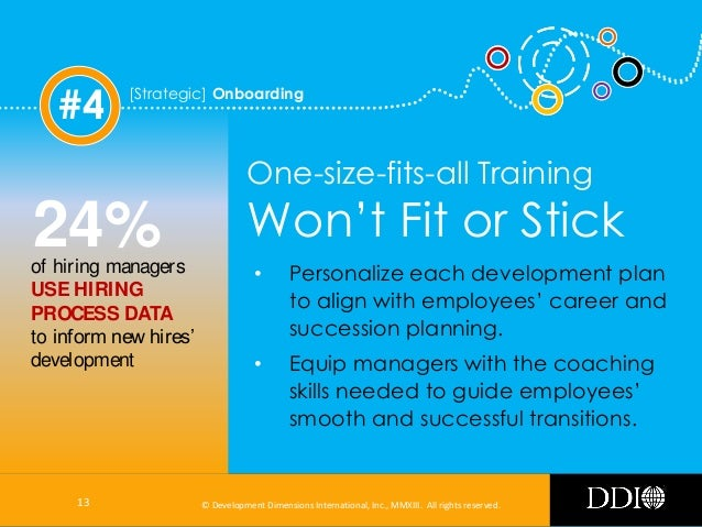 #4  [Strategic] Onboarding  One-size-fits-all Training  24%  of hiring managers USE HIRING PROCESS DATA to inform new hire...