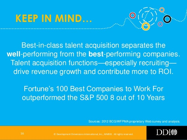 KEEP IN MIND… Best-in-class talent acquisition separates the well-performing from the best-performing companies. Talent ac...