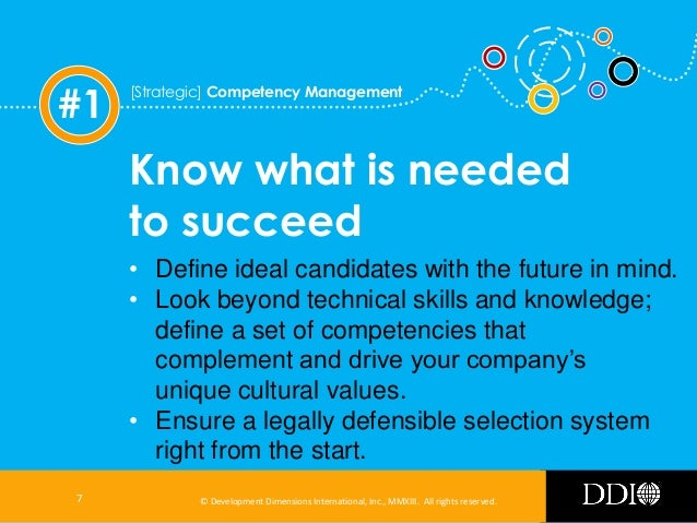#1  [Strategic] Competency Management  Know what is needed to succeed • Define ideal candidates with the future in mind. •...