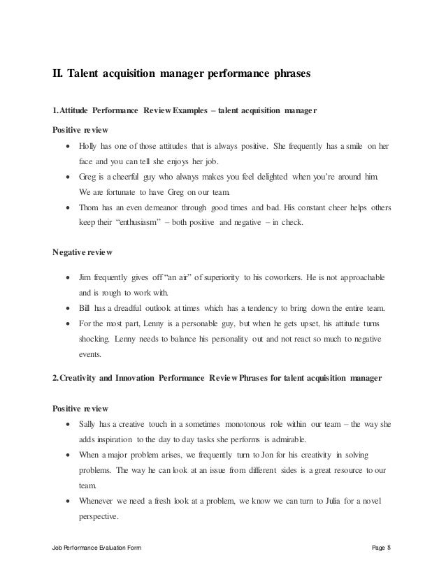 evaluated by date reviewed by date 8 job performance evaluation form page 8 ii talent acquisition manager - Talent Acquisition Manager