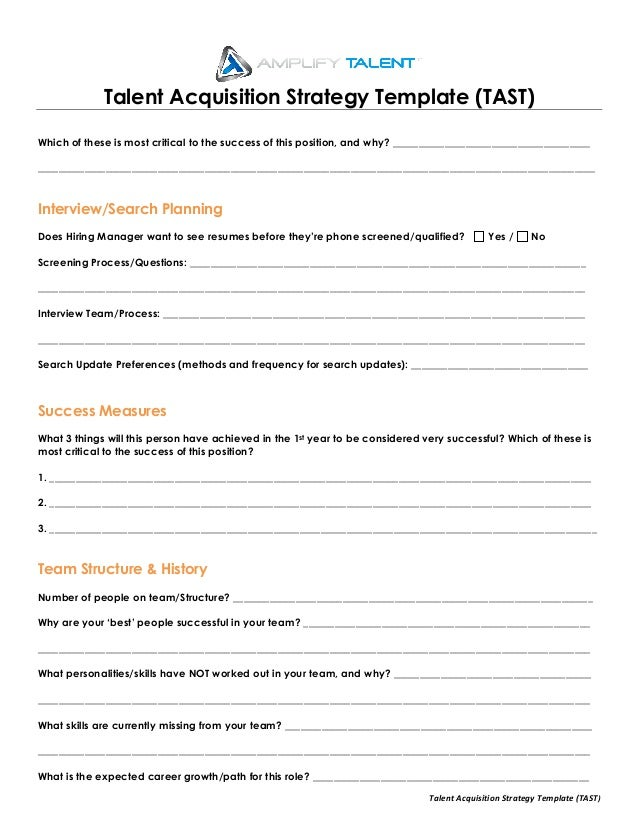 Talent Acquisition Strategy Template (Amplify Talent)