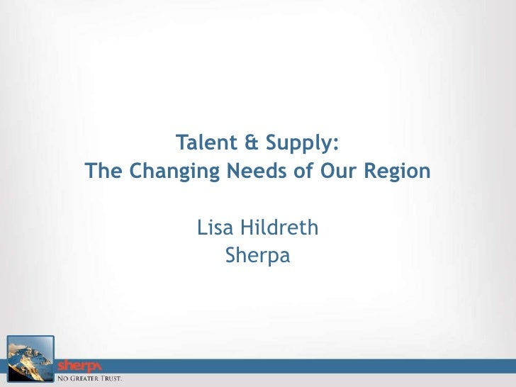 Talent & Supply: <br />The Changing Needs of Our Region<br />Lisa Hildreth<br />Sherpa<br />