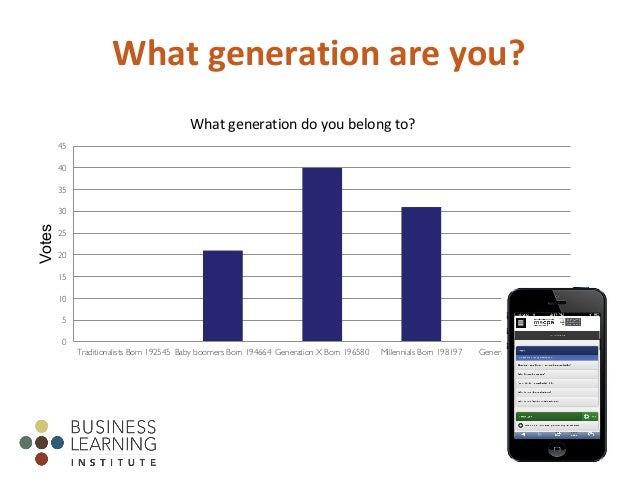 Whatgenerationareyou? 0 5 10 15 20 25 30 35 40 45 Traditionalists Born 192545 Baby boomers Born 194664 Generation X Bor...